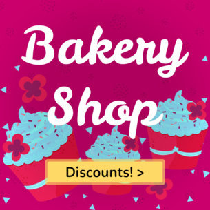 Banner Maker for a Cupcake Shop with Burgundy Background 383f