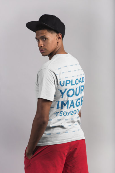 Back Shot T-Shirt Mockup of a Man with Beach Clothing 21073