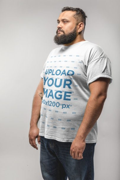 Angled Shot of a Plus Size T-Shirt Mockup Featuring a Man with a Beard 20800