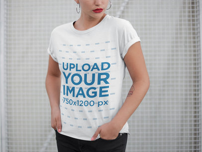 Frontal Closeup of a T-Shirt Mockup Featuring a Woman a21313