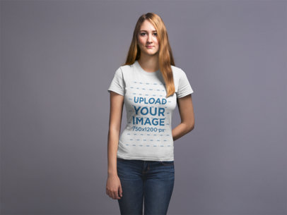 Front Shot T-Shirt Mockup Featuring a Blonde Girl 20907