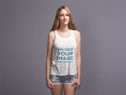 Bella Flowie Tank Top Mockup of a Blonde Girl 20910