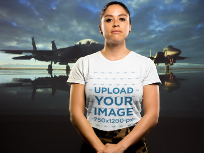 T-Shirt Mockup of a Woman Veteran 21214