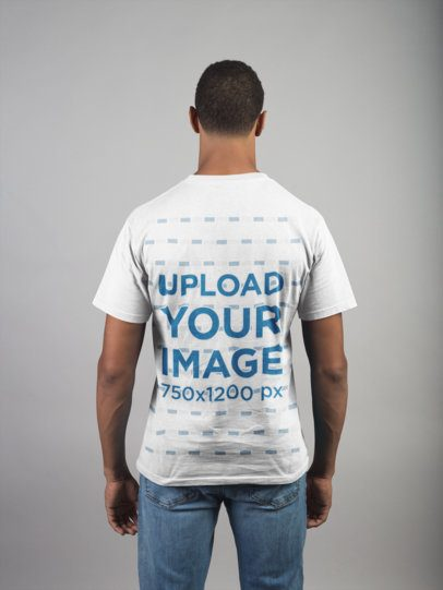 Back Shot T-Shirt Mockup of a Man Wearing Jeans 21083