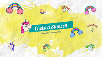 Online Banner Maker for a Youtuber with Unicorns Images 405a