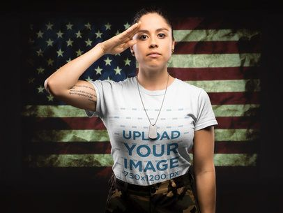 Mockup of a Woman Soldier Wearing a T-Shirt Saluting the Flag 21220