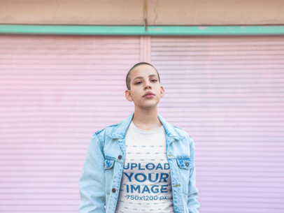 Mockup of a Girl with Short Hair Wearing a T-Shirt and a Denim Jacket 18351