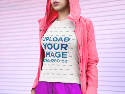 T-Shirt Mockup of a Cropped Face Woman Wearing Pink Clothing 18354