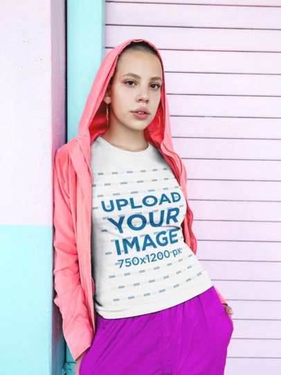 T-Shirt Mockup of a Girl with Short Hair in Pink  18355