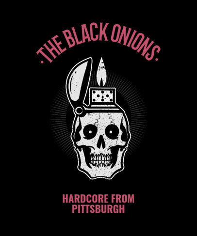 Rock-Themed T-shirt Design Template Featuring a Skull Clipart 444