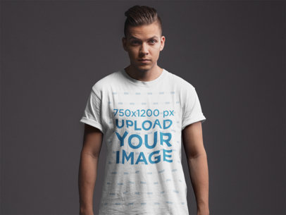 T-Shirt Mockup of a Young Man with a Trendy Haircut 21013