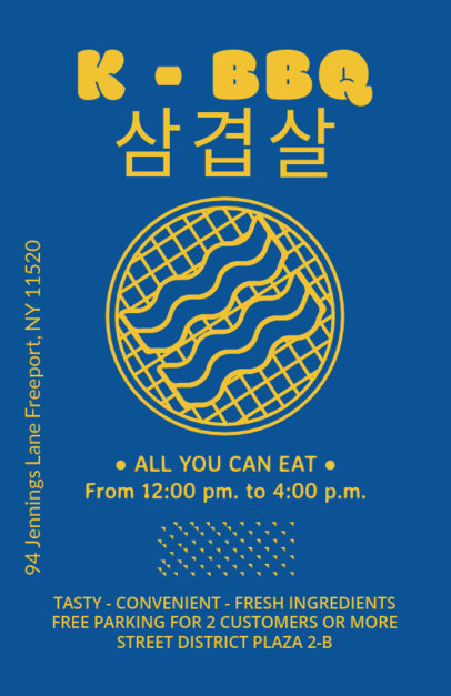Online Flyer Maker for a Korean Restaurant with Bacon Clipart 400c