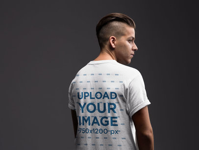 Backshot T-Shirt Mockup Featuring a Man in a Trendy Haircut 21016