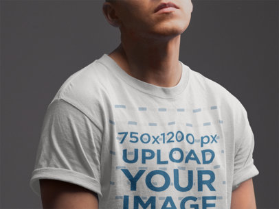 Closeup T-Shirt Mockup of a Man Posing 21017