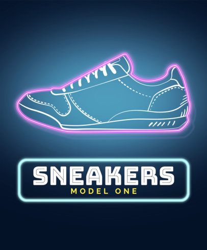 Neon T-Shirt Design Template with Sneaker Images 428