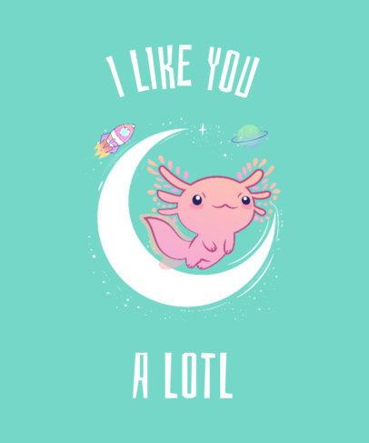 Galaxy T-Shirt Design Template with Axolotl Drawing 419f