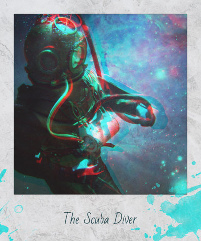 T-Shirt Design Template with Scuba Diver Image 439a