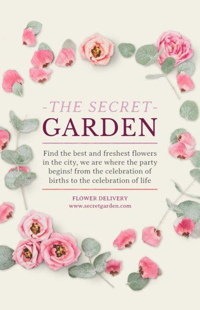 Flyer Maker for Flower Shops with Pink Flowers Background #434d