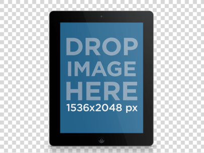 Tablet Mockup of a Black iPad Over Clear Background