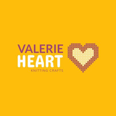 Knitting Store Logo Maker with Heart Graphic 1279d