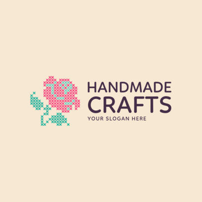 Craft Store Logo Maker with Rose Graphic 1279e
