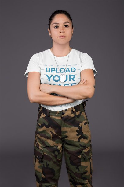 T-Shirt Mockup Featuring a Serious Army Woman with Folded Arms 21227