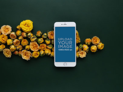 Silver iPhone 8 Plus Mockup with Yellow Flowers 21751