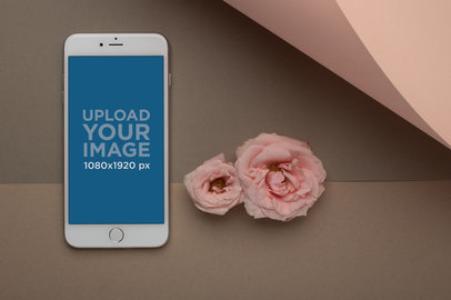 iPhone Mockup Standing Next to Two Roses 21754