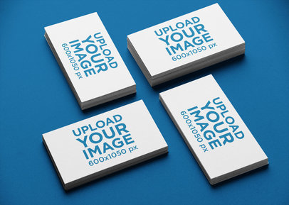 Business Card Mockup of Multiple Stacked Cards in a Varied Angled Arrangement 21944