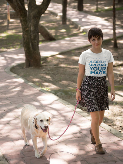 T-Shirt Mockup of a Woman Walking Her Dog 17977