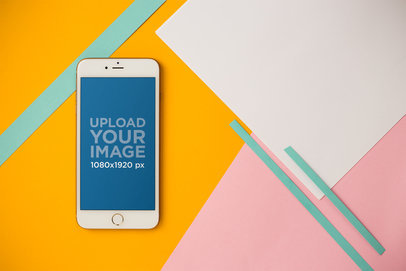 Mockup of an iPhone 8 Plus Over a Colorful Background 21640