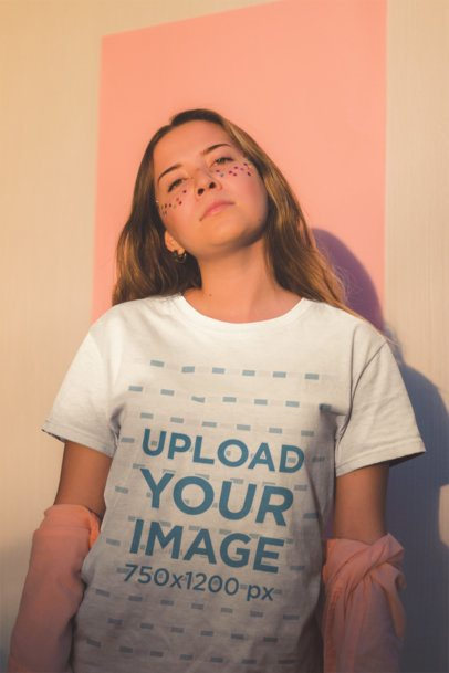 Mockup of a Girl Wearing a T-Shirt with Star Confetti on Her Face 18419