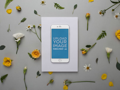Silver iPhone 8 Plus Template with Yellow and White Flowers 21764