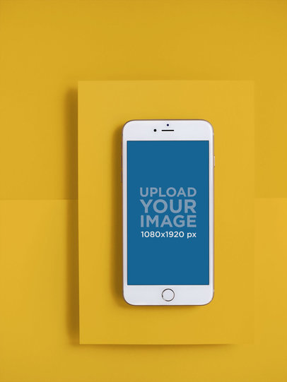 Silver iPhone 8 Mockup over a Solid Color Background 21631