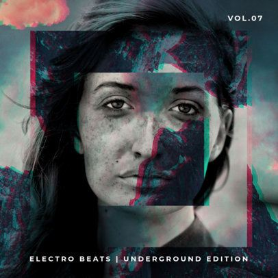Electro Beats Album Cover Design Template 469c