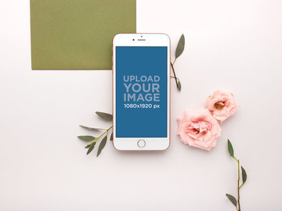 iPhone Mockup Lying with Flower Heads and Stems 21758