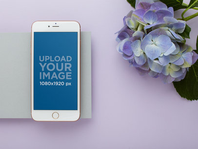 Gold iPhone Mockup Next to Hydrangea Lilac Flowers 21975