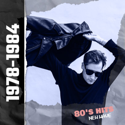 80s New Wave Hits Album Cover Design Template 476b