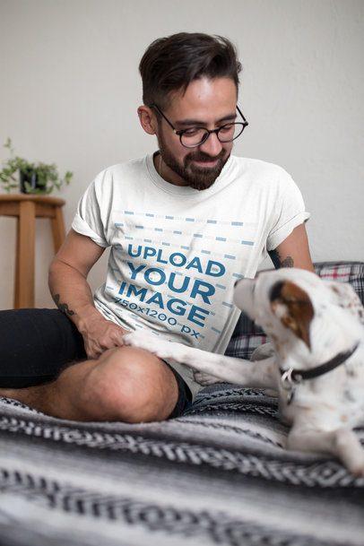 T-Shirt Mockup of a Man Smiling at His Dog 18027