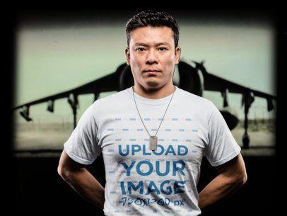 Mockup of an Army Veteran Wearing a T-Shirt 21243
