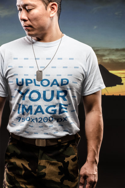 T-Shirt Mockup of a Veteran Man Somberly Looking Down  21249