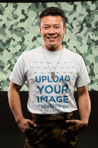 T-Shirt Mockup of Smiling Veteran Soldier  21254
