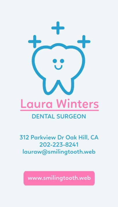 Vertical Business Card Template for Dentist Businesses 490