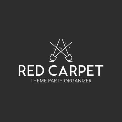 Red Carpet Party Planner Business Logo Maker 1334e