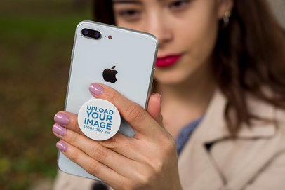 Phone Grip Mockup Featuring a Woman Wearing Red Lipstick 22069
