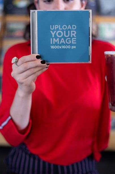 CD Cover Mockup Featuring a Woman Wearing Red 22108