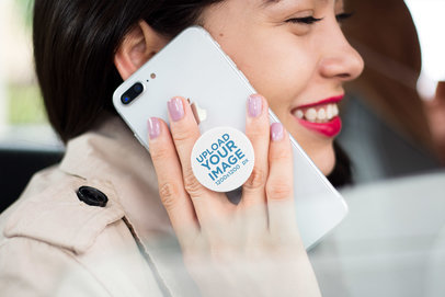 PopSocket Holder Mockup Featuring a  Smiling Girl Making a Phone Call with an iPhone  22080