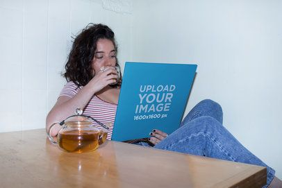 Vinyl Cover Mockup Featuring a Woman Drinking Tea 22096
