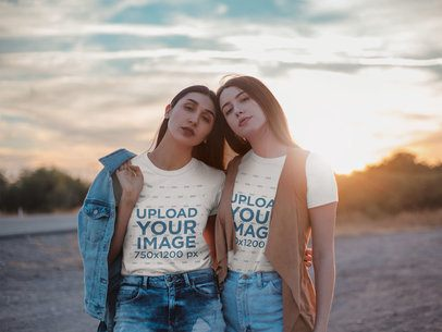 T-Shirt Mockup Featuring Two Pretty Girls Posing in Denim Outfits Outdoor 18866