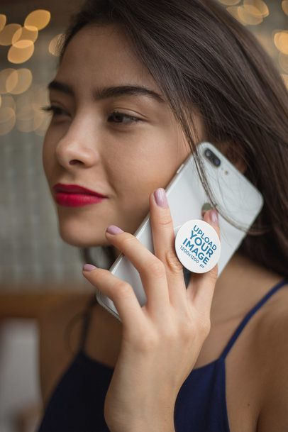 Phone Grip Mockup Held By a Woman On The Phone 22148